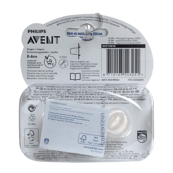 Ty ngậm Philips Avent trong suốt (SCF170/18)