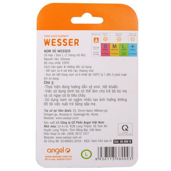 Vỉ 2 núm ty Wesser silicone cổ hẹp size L