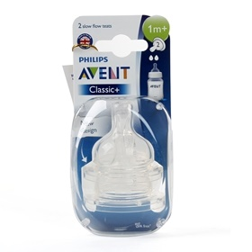 Vỉ 2 núm ty silicone Philips Avent (SCF 632/27, 2 lỗ,1-3M)