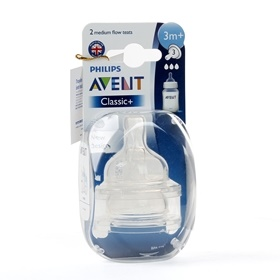Vỉ 2 núm ty silicone Philips Avent (SCF633.27, 3 lỗ,3-6M)